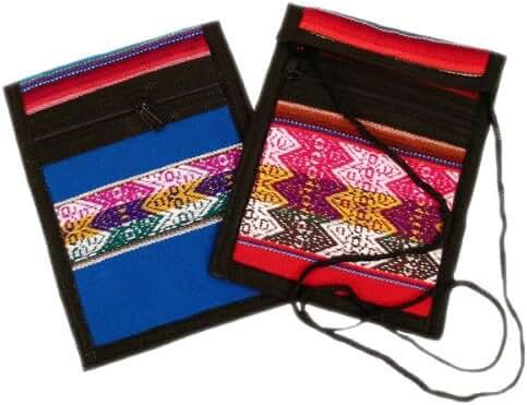 Two Passport Wallets Cotton Hand Woven Peru Fair Trade