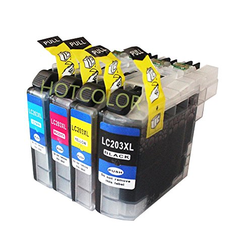 HOTCOLOR (TM) Compatible Ink Cartridge Replacement for Brother LC203 XL LC203XL (1 Black LC203BK, 1 Cyan LC203C, 1 Magenta LC203M, 1 Yellow LC203Y) 4 Pack