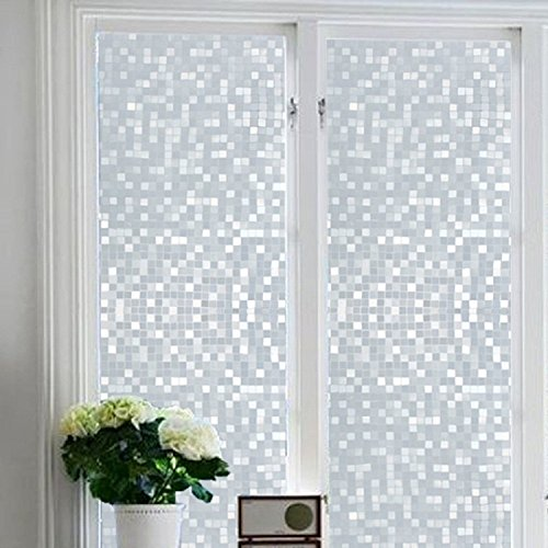 Bloss Privacy Frosted Bathroom Static Window Cling NO Glue Glass Film for (Frosted Glass Tiles)