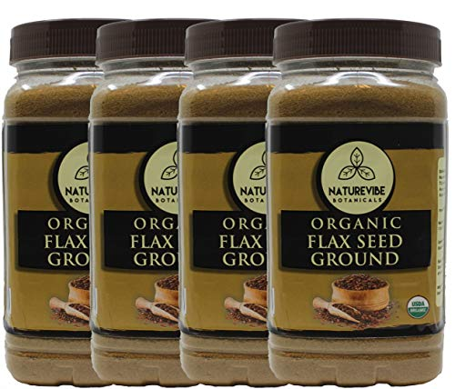 (Naturevibe Botanicals Organic Flax seed Powder 4 lbs (4 Pack of 1 lb each) - Non-GMO Verified, Gluten Free and Kosher | Provides protein, fiber and omega-3)