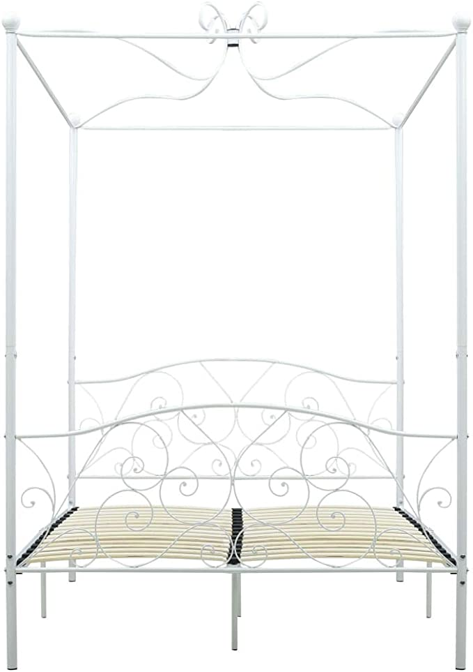 Tidyard Letto a Baldacchino Bianco in Metallo 100x200 cm