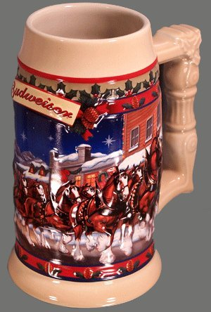 Anheuser-Busch Budweiser Holiday Stein Series - 2003 Old Towne Holiday - Clydesdales Pulling The Holiday Beer Wagon (Bud Stein)