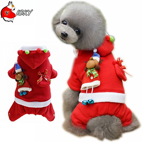 [Visky Christmas Dog Costume Santa Suit Dress for Pet Cat Dog --S] (Business Suit Dog Costume)