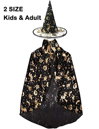 2 Types Of Girls During Halloween (Garlagy 2 Pack Halloween Costumes Kids Adult Witch Wizard Cloak with Hat Party Supplies Unisex Clothing Dress Up Cosplay (Child (Unisize), Black (Halloween)