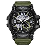 Men's Military Sport Digital Analog Stylish Waterproof Outdoor Watch Dual Electronic Quartz Movement Green Band with Back Light