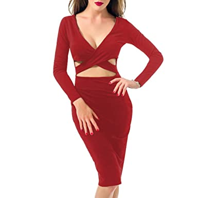899abe778684 Women's Sexy Bandage Dress, Deep V-Neck Cut Out Front Cross Bodycon  Clubwear Midi Dress at Amazon Women's Clothing store: