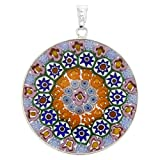 GlassOfVenice Murano Glass Millefiori Pendant in Silver Frame 1-1/4''