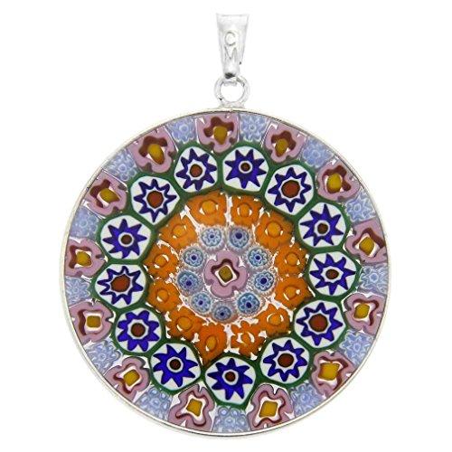 GlassOfVenice Murano Glass Millefiori Pendant in Silver Frame (Millefiori Glass Pendant Necklace)