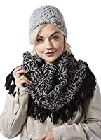 Screamer Women's Sheri Beanie and Fringy Infinity Ensemble, One Size, Charcoal/Black