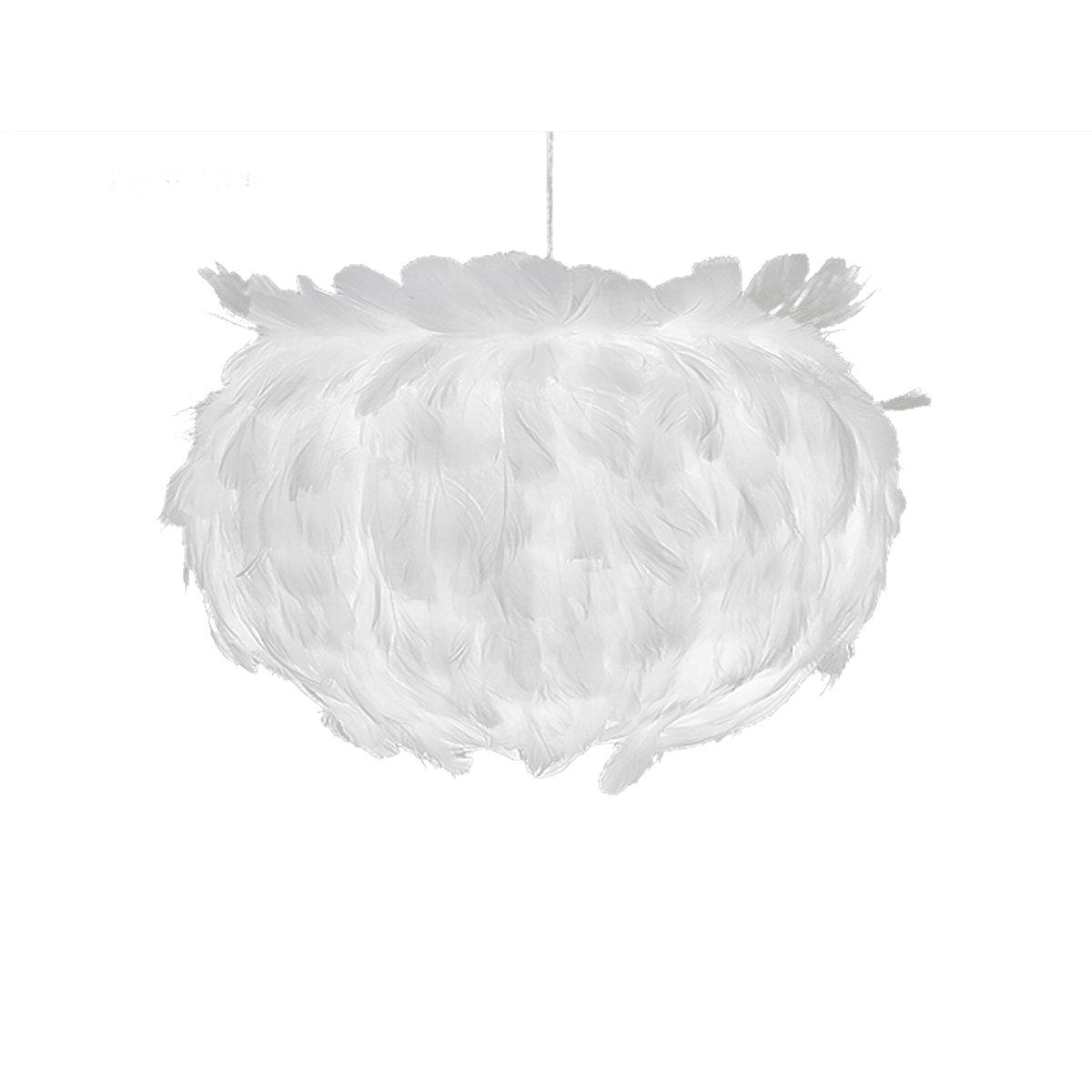 Frcolor Araña de Plumas, Colgante de Plumas de Decoración Contemporánea, de para Iluminación de Contemporánea, la Tienda Decoración de Sala de Estar - Tamaño pequeño (la luz blanca) a8838c