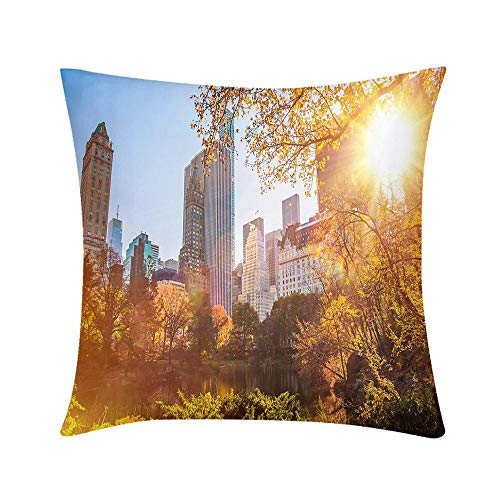HooMore Custom Soft Wrinkle-Resistant Throw Pillow New York Central Park Design for Sofa Bedroom Office Car Decorate Pillow