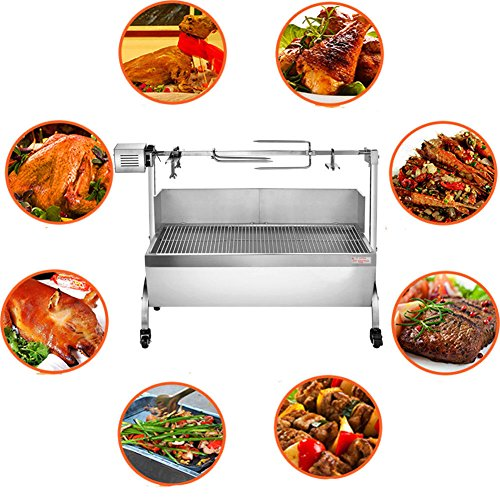 Ridgeyard Lamb Pig Goat Charcoal Barbeque Grill Roaster Spit Rotisserie Hog Roasting Machine with Wind Shield Stainless Steel 28W Motor 77lbs Capacity BBQ -