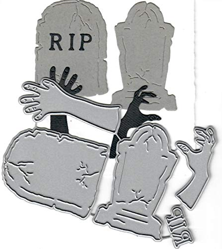 (Dies to die for Metal Craft Cutting die - Tombstone/Gravestone Zombie Hands - Halloween)