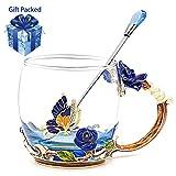 Daycindy Handmade Enamel Rose Breakfast Teacups with Spoon (12oz, Rose Blue)