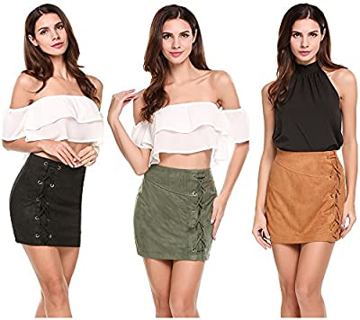 Womens Leather Vintage Lace up High Waisted Faux Suede Mini Skirt