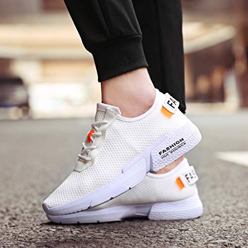 Casuales De Color Para Hombre Blanco Deporte Transpirable Moda Casual Malla Zapatillas Cómodos Zapatos Sólido 57qwEzIf