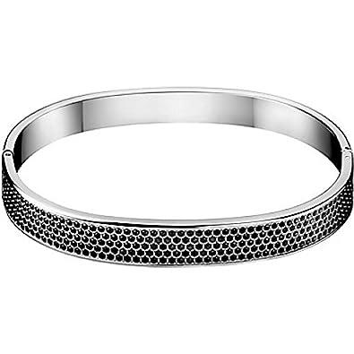 CALVIN KLEIN , Bracelet Rigide Fermé Pierres Noir Calvin Klein Hook , , L