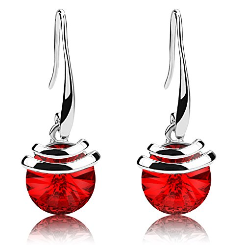(Crystal French Wire Dangle Drop Earrings (Red))