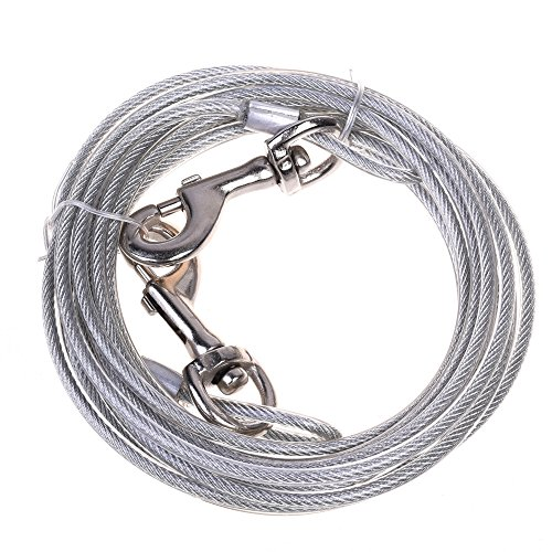 CM COSMOS 16 Ft Dog Tie Out Cacle for Medium Chew Proof Steel Wire Dog Leash Training Lead for Dogs (Silver) by CM