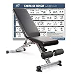 RitFit Adjustable/Foldable Utility Bench for Home Gym, Weightlifting and Strength Training - Bonus