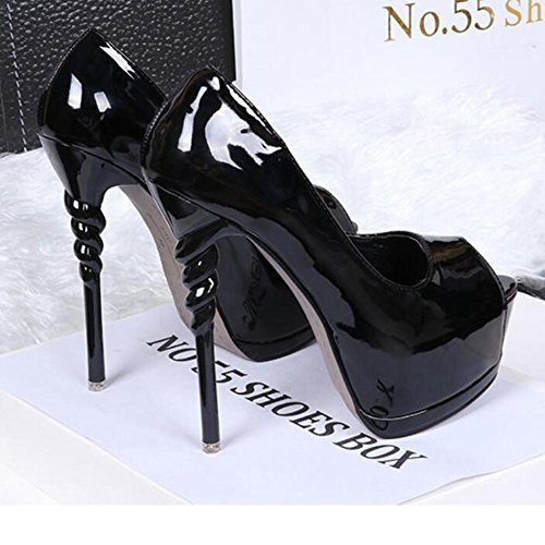 Dance Nightclub Heels Mouth Black Dress Table Single With High Women Shoes Fine Waterproof Fish ZvxIIw
