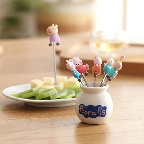6pcs/pack Cute Pig Peggy Stainless Steel Animal Fruit Fork Cartoon Children Snack Cake Dessert Food Fruit Pick Bento Home Party Decor (6pcs+Ceramics Holder) by Great Circle