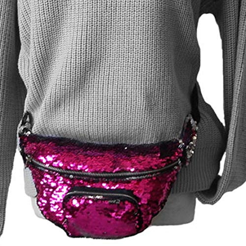Bag Roja Bolsa correa de multifuncional Bolsa Messenger pecho Fashion Sequins cintura Bolsa de Mermaid con ajustable Rosa Mujer de almacenamiento w7wFqHI