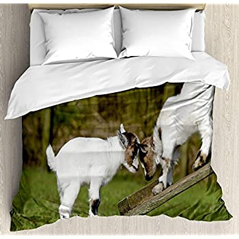 Image of Animal Luxury 4 Piece Bedding Set Twin Size, Two Cute Little Baby Goats on a Bench with Their Horns Picture Image Design, Duvet Cover Set Quilt Bedspread for Kids/Teens/Adults, White and Green