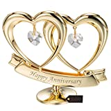 24K Gold Plated Crystal Studded Double Heart Happy Anniversary Banner...