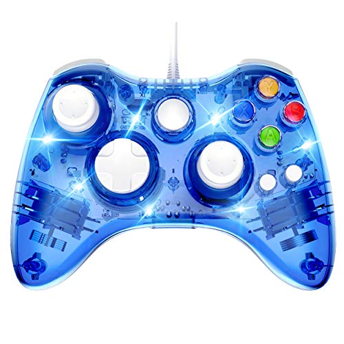 PAWHITS Wired Xbox 360 Controller Dual Vibrator Wired Gamepad Gaming Joypad, Blue