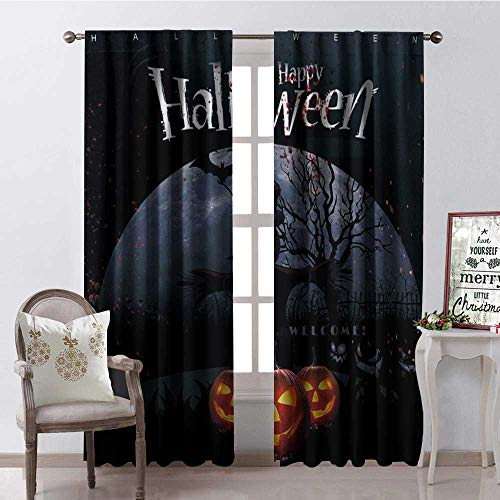 Hengshu Happy Halloween Pumpk Lantern Scarecrow Thermal Insulating Blackout Curtain Blackout Draperies for Bedroom W72 x L84]()