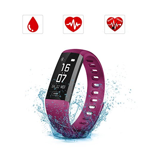 Fitness Tracker HR, SAVFY Activity Tracker with Blood Pressure, IP67 Waterproof Heart Rate Monitor Smart Bracelet with Step Tracker Sleep Monitor Calorie Counter Pedometer Watch for Android and iOS