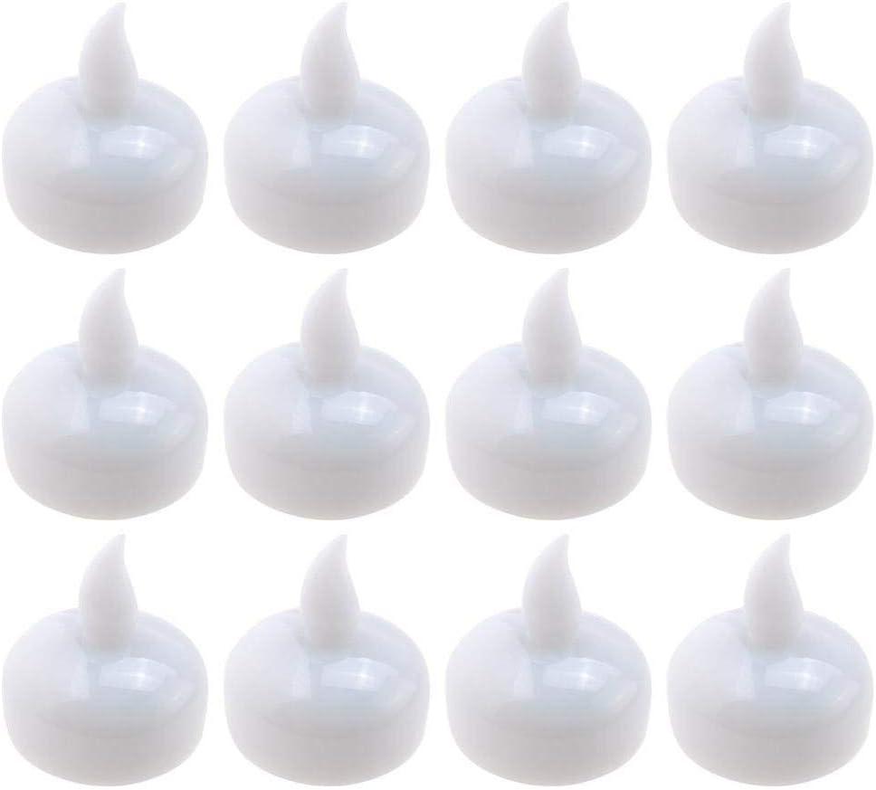 Duzhixi 12pcs Impermeable Sin Llama Flotante LED Tealight Operado ...