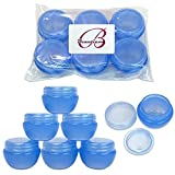 blue cosmetic containers - Beauticom 10G/10ML Frosted Container Jars with Inner Liner for Scrubs, Oils, Salves, Creams, Lotions, Makeup Cosmetics, Nail Accessories, Beauty Aids - BPA Free (6 Pieces, Blue)