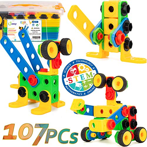 cossy 107 Pieces Construction Engineering Building Blocks Set, Manipulative Toy for Boys & Girls, Come with a Sturdy Storage Container, Best STEM Toy Gift for Kids Ages 3 yr - 6 yr -