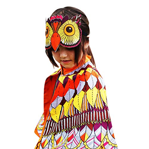 (Dsood Kids Cartoon Owl Cape Wings for Kids, Fairy Dress up Costume Pretend Play Birthday Party Favor)