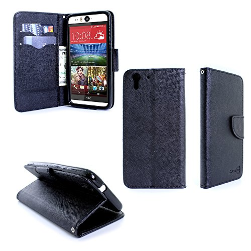 HTC Desire Eye Wallet Phone Case and Screen Protector | CoverON (Carryall) Pouch Series | Tough Textured Exterior (Black/Black) Cover with Credit Card and Cash Holder Slots for HTC Desire Eye (Wallet Htc Case Eye Desire)