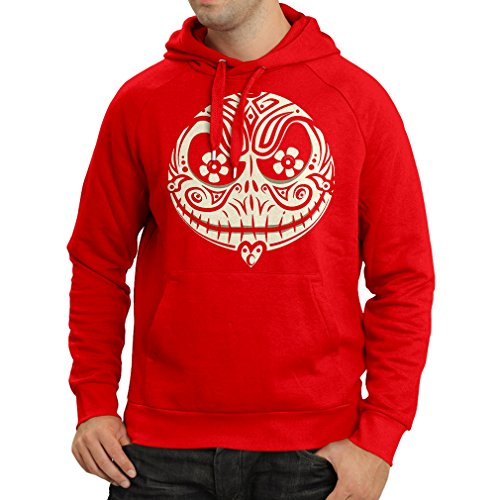 Hoodie The Skull Face -The Nightmare - Scary Halloween Night (Medium Red Multi Color)]()