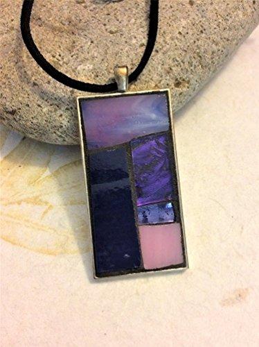 (Mosaic Pendant Necklace - Purple/Pink Rectangle)