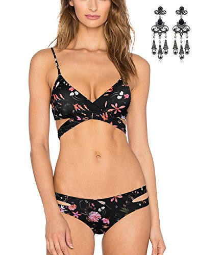 MODETREND Mujer Bikini Conjuntos de Bikini Dos Piezas Push-up Bañadores Traje de Baño de Playa Natación Swimwear Beachwear Negro