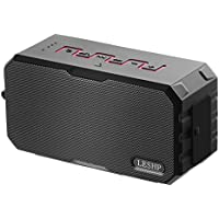 LESHP Waterproof Dustproof Shockproof Speaker Bluetooth Wireless Speaker with 2600mAh Battery ,Double 16-core Magnetic Speakers Treble Thorough Bass Vigorous Sound Flexible for iPhone Samsung-red