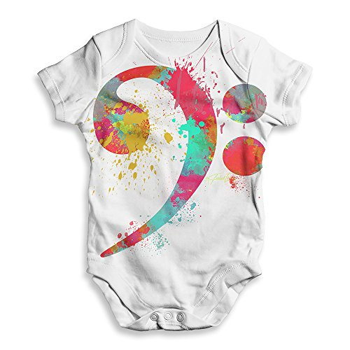 - TWISTED ENVY Funny Infant Baby Bodysuit Onesie Bass Clef Paint Splats White 3-6 Months