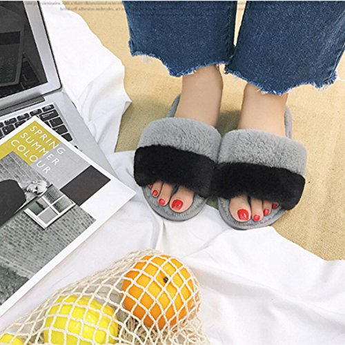 JIANGFU Winter Plüsch Baumwolle Pantoffel weibliche flache rutschfeste weiche Sohlen Schuhe,Womens Flat Anti-Rutsch weiche flauschige Faux Pelz Flache Slipper Flip Flop Sandale (38, BK) GY
