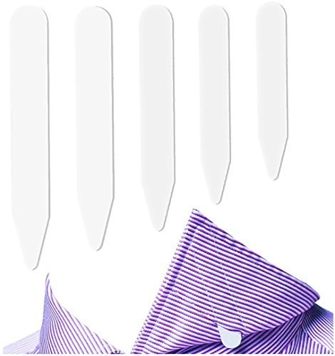 Tab Collar - Fasker 300 Pcs Collar Stays Plastic Collar Stay Bones for Men's Shirt - White, 5 Sizes