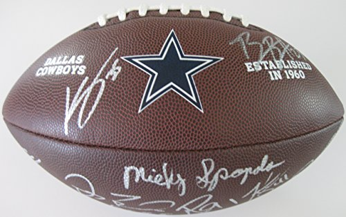 (2017 Dallas Cowboys, Team, Signed, Autographed, Logo Football, a COA with the Proof Photos of the Cowboys Players Signing the Football Will Be Included)