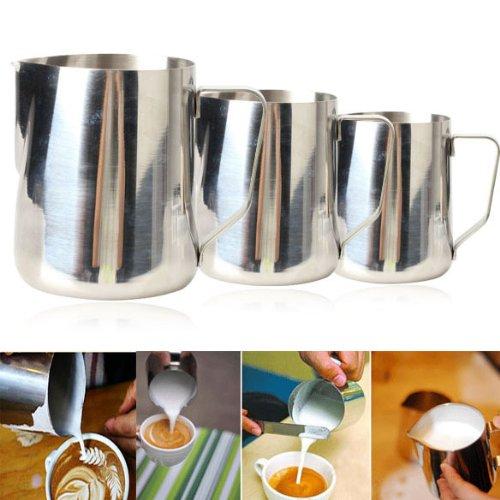 Vktech 350ml Edelstahl Milchkännchen für Kaffee Latte Milchaufschäumen