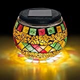 Mosaic Glass Ball LED Light - Solar Powered, Waterproof – Outdoor Night Light For Home, Garden, Yard, Patio, Balcony Decor or Table Lamp - Elegant Party Decorations and for Christmas, The Best Gift!