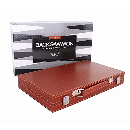 Backgammon Set,Once ZY Time Leather Backgammon Board Game with Wood Inlay Board and Accessories Brown Portable Travel Folding Case, 15 Inches (Wood Backgammon Inlay)