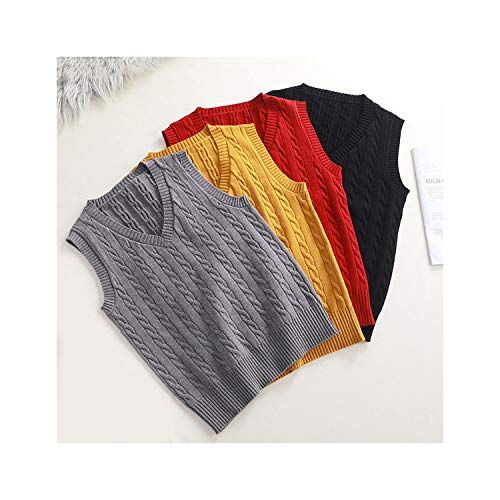 Eothdy Wool Sweater Vest Women V Neck Knitted Vest Female Casual Tank Tops Sleeveless Twist Knit Pullovers