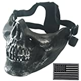 Wwman Airsoft Deluxe Bb Gun Half Face Skull Mask Outdoor Hunting Cs War Game Mask Sliver